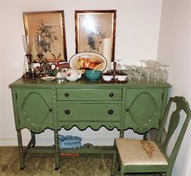 1940'S ANTIQUE GREEN SIDEBOARD
