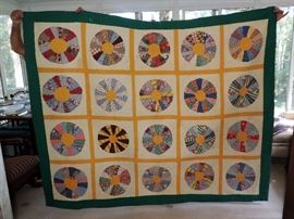 BEAUTIFUL EARLY COUNTRY PINWHEEL QUILT
