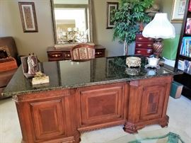 Gorgeous Executive Style Granite Top Desk with Power Station inside