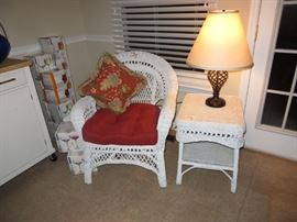 Wicker Chair and End Table