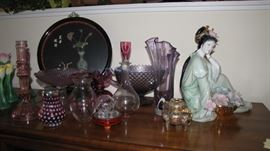 Geisha Girl, fine china - selection of art glass / pink depression vases and more.