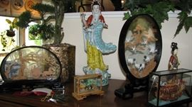 Large collection of Asian Diorama's - various shapes - sizes and content.