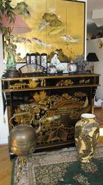 antique brass samovar, vase wall, hinged wall art.