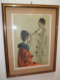 The Flute Player Signed and dated. Lithograph by Romano Parmeggani. Henning Fine art value at $500.00