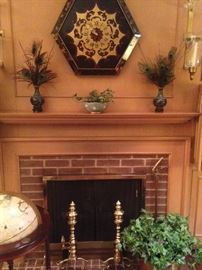 Lovely den mantel and hearth accessories (andirons stay with the house)