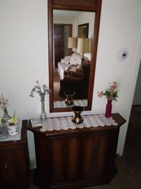 Parlor cabinet w/  matching  mirror