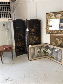 Beautiful Asian screens and antique carved mirror