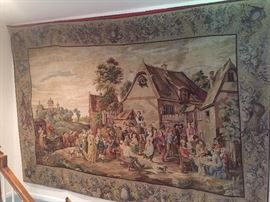 Large tapestry handmade in  Europe 7 1/2 feet tall by 11 1/2 feet wide
