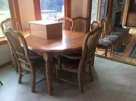 French country table and eight chairs $800