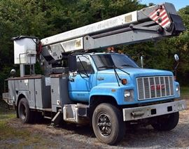 At 8PM: 1993 GMC Bucket Truck with 47,920 Miles; CAT Diesel Engine; In Working Condition.  VIN: 1GDM7H1J4PJ512959. Vehicle Terms: Vehicles are sold AS IS, in AS FOUND/ESTATE condition. | Minimum of 10% deposit due on day of auction. May be paid with Cash, Check, VISA, MC, Debit. | Balance paid in full by Thursday following. Must be paid with Cash or Certified Bank Check ONLY.