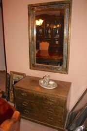 3 Drawer Cabinet, and Framed Decorative Mirror with Tea Set