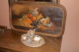 Decorative Tray and Colorful Tea Set