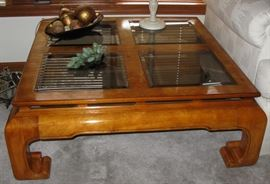 square burl wood coffee table with glass inserts                          BUY IT NOW  $ 85.00