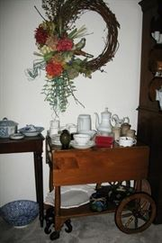 Maple tea cart with drop sides and drawer                                   BUY IT NOW $ 85.00