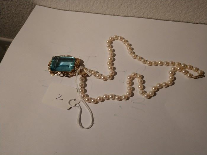 Aquamarine clasp was sent to Heritage Auctions for December Auction.  Pearls are available.