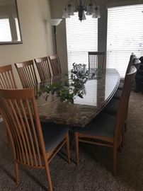 "Custom marble dining table & chairs Part of an estate. Measures 8' long x 4' wide x 28"" tall. Great condition. Comes with 10 chairs. Must pick up in Richmond. You will need a lot of strong men to load. We cannot help. $8,000"