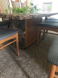 "Custom marble dining table & chairs Part of an estate. Measures 8' long x 4' wide x 28"" tall. Great condition. Comes with 10 chairs. Must pick up in Richmond. You will need a lot of strong men to load. We cannot help."