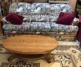 Sofa Sleeper and Oak Coffee Table