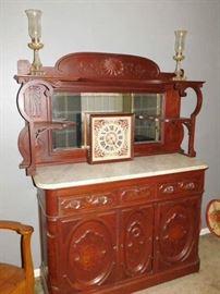 Victorian, Mahogany, Marble Top Sideboard.