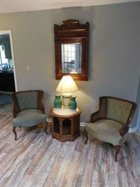 70's Chairs, French Lamp Table, Victorian Mirror