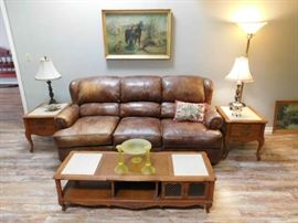 Leather Sofa, French Lamp and Coffee Table