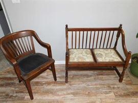 Oak Desk Chair, Settee