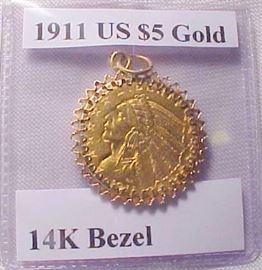 1911 $5 Gold 14K Bezel1