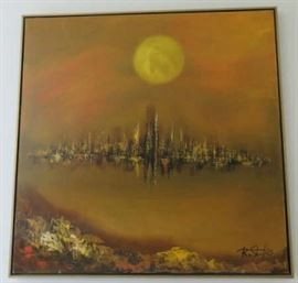 Mid Century Modern Abstract Cityscape Oil Painting R. Styles