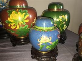 Cloisonne ginger jars - part of a collection with some pieces dating back to the early 1900's.