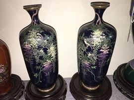 This pair is exquisite.  Part of an extensive antique cloisonne collection.