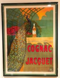 Cognac Jacquet peacock French poster