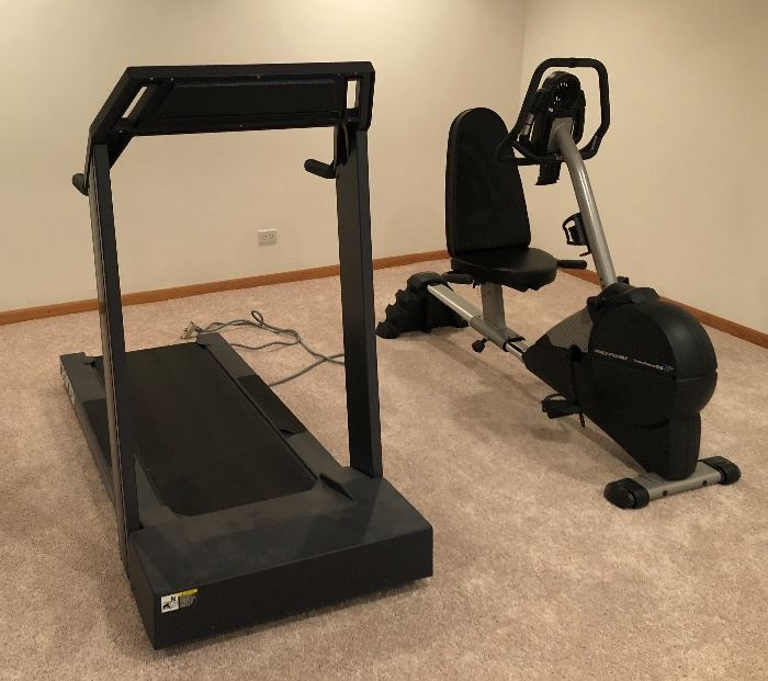 Exercise equipment.  Recumbent bike, treadmill