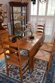 Ethan Allen Drop Leaf Maple Table with 6 Ladder Back Chairs