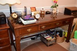 "Solid Wood Elegant Cherry Writing Desk 58"" W X 28"" D X 29"" T with 3 Drawers"