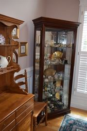 Lighted Glass and Wood Curio