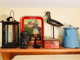 Lots of antiques and vintage items! Incl. Barn Lantern, Chocolate Mold, Coca-Cola Advertising Tray, Betty Lamp, Union Leader Cut Plug Tin, Original Hand Carved Plover, Blue Granite Coffee Pot