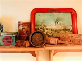 Lucky Strike Cigar Tins, Mother's Crushed Oats Container, Wooden Butter Molds, Springerle Rolling, Budweiser Advertising Tray