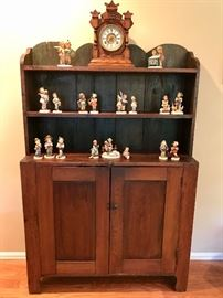 Pine Open Top Cupboard w/ Doors c. 1820s-1840s, Ansonia Oak Clock, Hummel Figurines