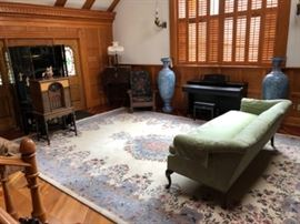Family Heritage Estate Sales, LLC. New Jersey Estate Sales/ Pennsylvania Estate Sales.  Living Room Furniture. Yamaha Piano. Couch. Persian Isnik vases.