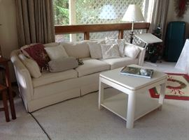 White Sofa & 1 White End Table