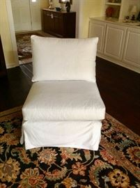 Covered White Swivel Chair - Very Comfortable