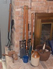 Cast Iron Pot, Primitives, & Fireplace Tools