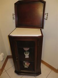 WYNDHAM WINE CABINET BOMBAY FURNITURE COPANY - tray top removes has marble top