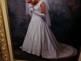 Beautiful Wedding Dress with Gloves and Veil