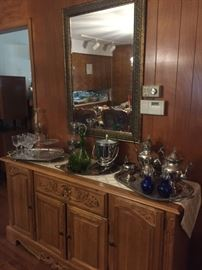 Buffet / Wall Mirror and Silver