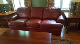 One of a Pair of Like New Leather Sofas Paid $2500.00 Each