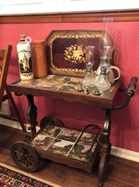 Antique tile inlay tea cart!