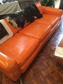 "8'custom vinyl sofa ; ""Royal Apricot"" from Payne's Furniture...……...rare ……!"