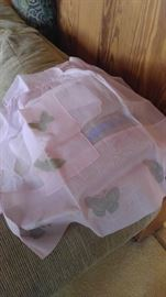 Vintage aprons handmade pink with butterflies