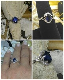 Blue Sapphire in Sterling Silver
